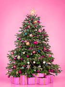 Fashion Art - Decorated Christmas tree with presents on pink by Oleksiy Maksymenko