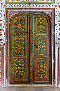 Painted Door Prints - Decorated door inside Junagarh Fort at Bikaner in India Print by Robert Preston