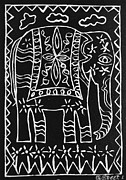 Lino Cut Reliefs Prints - Decorated Elephant Print by Caroline Street