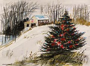 Fir Trees Drawings Prints - Decorated in the Snow Print by John  Williams