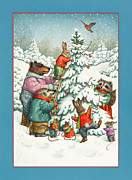 Raccoon Painting Posters - Decorating the Tree Poster by Lynn Bywaters