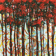 Silhouette Painting Posters - Decorative Abstract Floral Bird Landscape Painting FOREST OF DREAMS II by Megan Duncanson Poster by Megan Duncanson