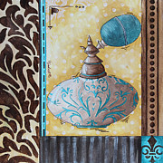 Art Product Painting Prints - Decorative Bathroom Bath Art Original Perfume Bottle Painting FANTASY PERFUME by MADART Print by Megan Duncanson