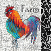 Colorful Rooster Posters - Decorative Rooster Chicken Decorative Art Original Painting King of the Roost By Megan Duncanson Poster by Megan Duncanson