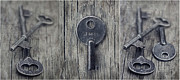 Blue Grey Posters - decorative vintage keys I Poster by Priska Wettstein