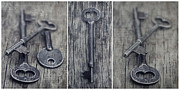 Blue Grey Prints - decorative vintage keys II Print by Priska Wettstein