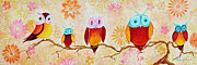 Pink Flower Branch Paintings - Decorative Whimsical Owl Owls Chi Omega Painting by Megan Duncanson by Megan Duncanson