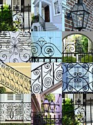 Grill Gate Photos - Decorative Wrought Iron Collage 1 by Allen Beatty
