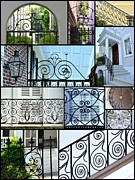 Grillwork Posters - Decorative Wrought Iron Collage 2 Poster by Allen Beatty
