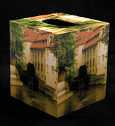 Prague Mixed Media - Decoupage Tissue Box Cover Kampa Mill in Prague by Greg Matchick