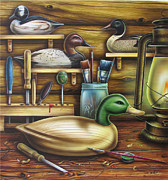 Waterfowl Painting Posters - Decoy Carving Table Poster by JQ Licensing