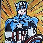 Avengers Painting Originals - Deemon Captain America by David Thesenvitz aka Deemon Picasso
