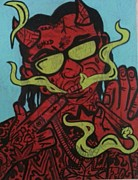 Lil Wayne Prints - Deemon Wayne Print by Deemon Picasso aka David Thesenvitz