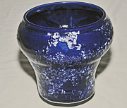 Background Ceramics - Deep Blue Crystalline Glaze Vase by Neeltje Vos