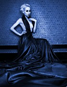 Halter Dress Posters - Deep Blue Poster by Pamela White