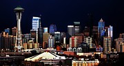 Seattle Skyline Posters - Deep Blue Seattle Panorama Poster by Benjamin Yeager