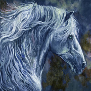 Wild Horse Metal Prints - Deep blue wild horse Metal Print by Angel  Tarantella