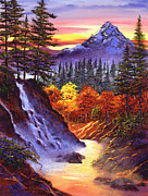 Featured Paintings - Deep Canyon Falls by David Lloyd Glover