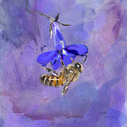 Honey Bee Posters - Deep in Purple Poster by Betty LaRue