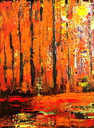 Autumn Landscape Mixed Media Prints - Deep in the Autumn Forest Print by Kume Bryant