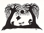 Silhouette Drawings - Deep in the Forest by Atalina Marie