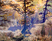 Foggy Digital Art Prints - Deep In The Swamp Sunrise Print by J Larry Walker