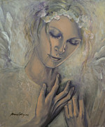 Prayer Painting Originals - Deep Inside by Dorina  Costras