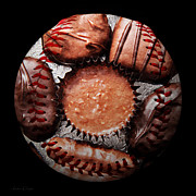 Baseball Art Mixed Media - Deep Rich Chocolates Baseball Square by Andee Photography