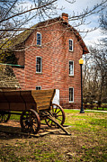 Brick Building Prints - Deep River Woods Grist Mill and Wagon Print by Paul Velgos