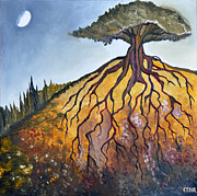 Tree Roots Painting Framed Prints - Deep Roots Framed Print by Cedar Lee
