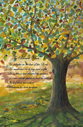 Tree Roots Prints - Deep Roots-with Scripture Print by Mona Elliott