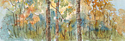 Blue And Gold Paintings - Deep Woods Waskesiu Horizontal by Pat Katz