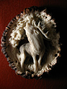 Deer Reliefs - Deer - Antler Burr Belt Buckle or Bola by Dmitry Gorodetsky