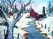 Old Fence With Snow Prints - Deer at the Grist Mill Print by Barbara Griffin