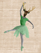 Wall Decor Greeting Cards Prints - Deer Ballet Dancer Green Print by Kelly McLaughlan