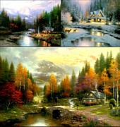 Kinkade Prints - Deer Creek Cottage Print by Thomas Kinkade