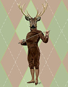 Wall Decor Framed Prints Digital Art - Deer Fencer Full by Kelly McLaughlan