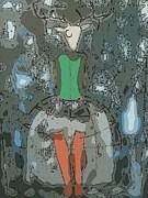 Deer Girl Print by Amy Sorrell