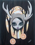 Pop Surrealism Paintings - Deer Girl Taste The Sunshine by Oddball Art Co by Lizzy Love