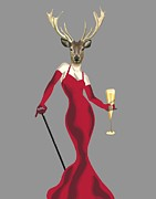Red Dress Posters - Deer Glamour Deer Red Poster by Loopylolly