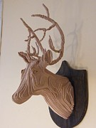Layers Sculpturing Sculptures - Deer Head by Motti Inbar