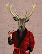Wall Decor Framed Prints Digital Art - Deer in a Smoking Jacket by Kelly McLaughlan