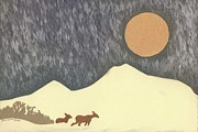 Snowstorm Drawings Posters - Deer in Moonlight - paper cut Poster by Dawn Senior-Trask