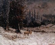Deer In Snow Framed Prints - Deer in the Snow Framed Print by Gustave  Courbet