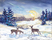 Deer In Snow Framed Prints - Deer In Winter Landscape  Framed Print by Peggy Wilson