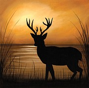 Deer Silhouette Framed Prints - Deer Lake Framed Print by Elaina  Wagner
