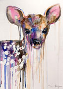 Watercolor Mixed Media Posters - Deer Poster by Lyubomir Kanelov