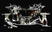 Ladle Digital Art - Deer Punch Bowl Set by EricaMaxine  Price