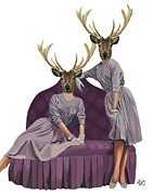 Wall Decor Greeting Cards Prints - Deer Twins in purple Print by Kelly McLaughlan