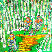 Mountain Biking Paintings - Deer Valley Mountain Biking 1 by Richard W Linford
